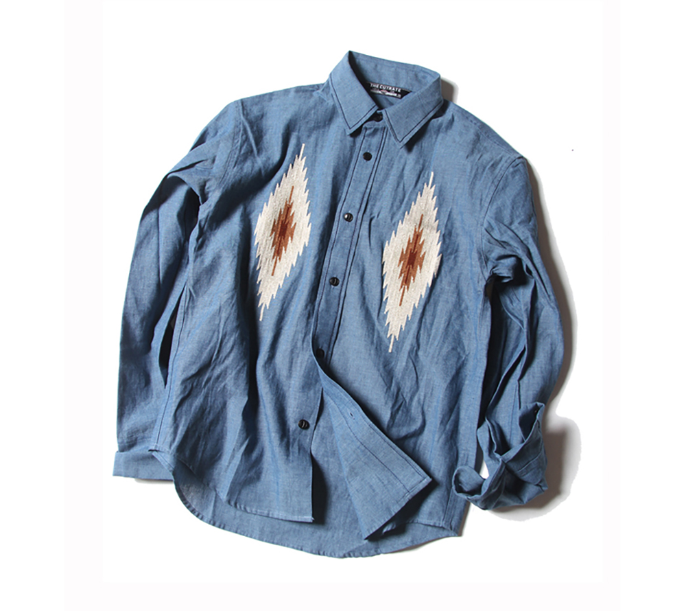 L/S NATIVE EMBROIDERY CHAMBRAY SHIRT