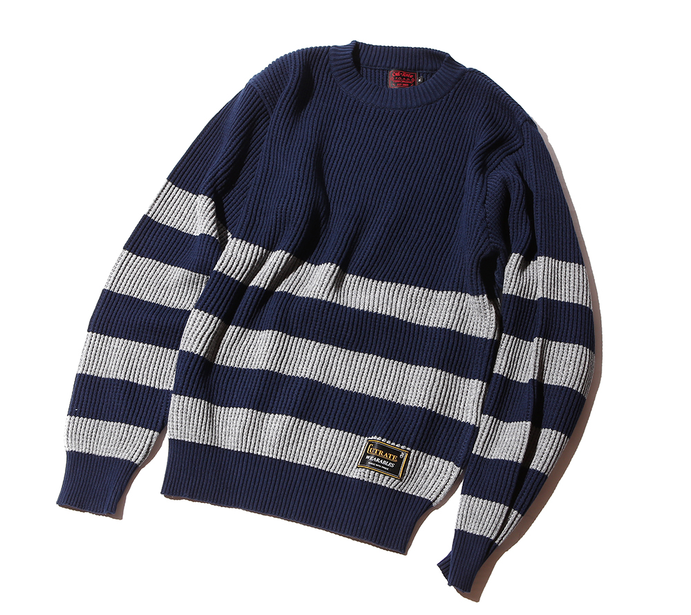 CREW NECK BORDER KNIT SWEATER