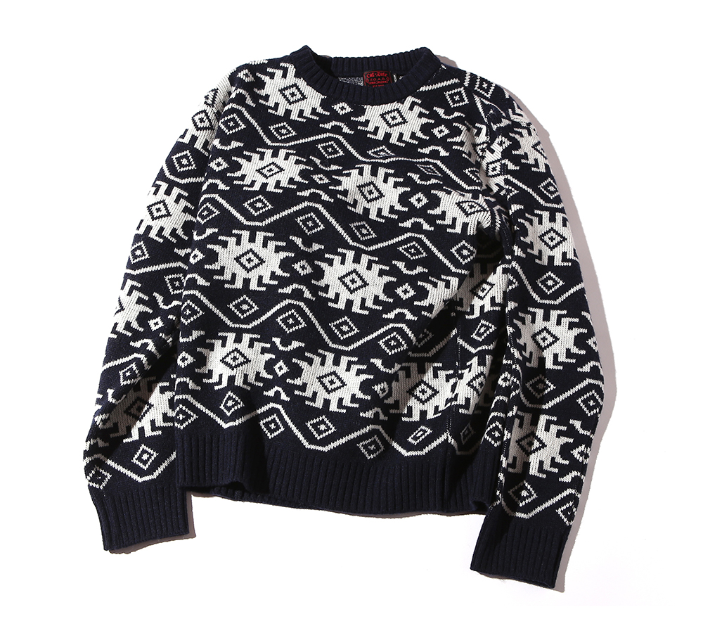 ALLOVER PATTERN CREW NECK KNIT SWEATER
