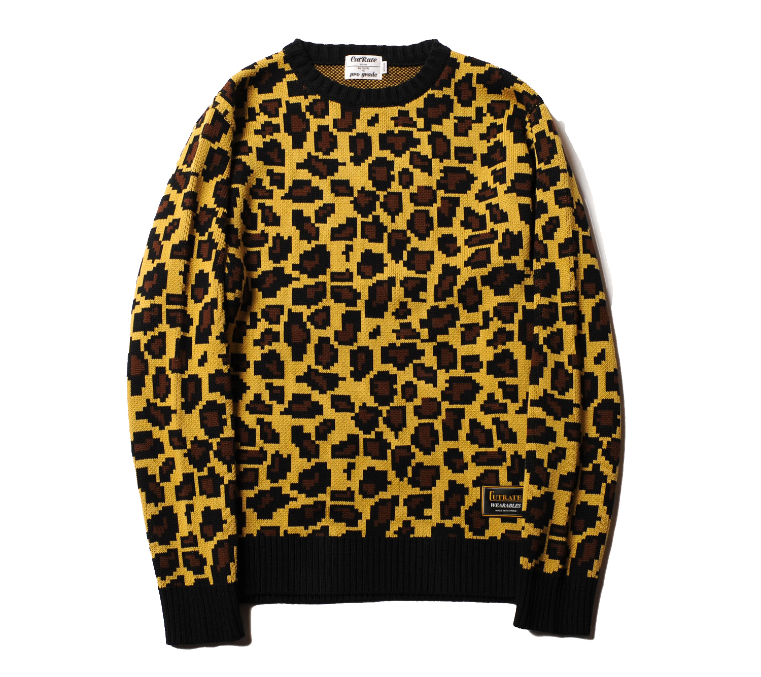 LEOPARD CREW NECK KNIT SWEATER