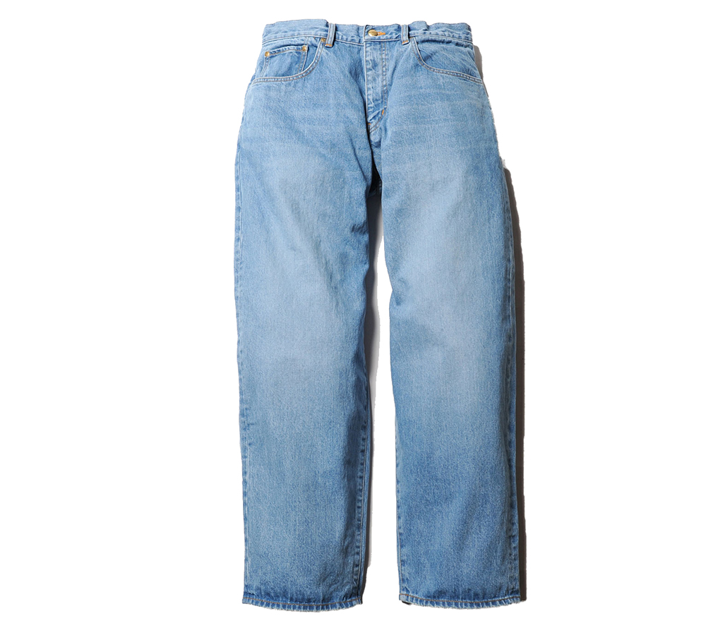 WIDE TAPERED USED WASH DENIM PANTS