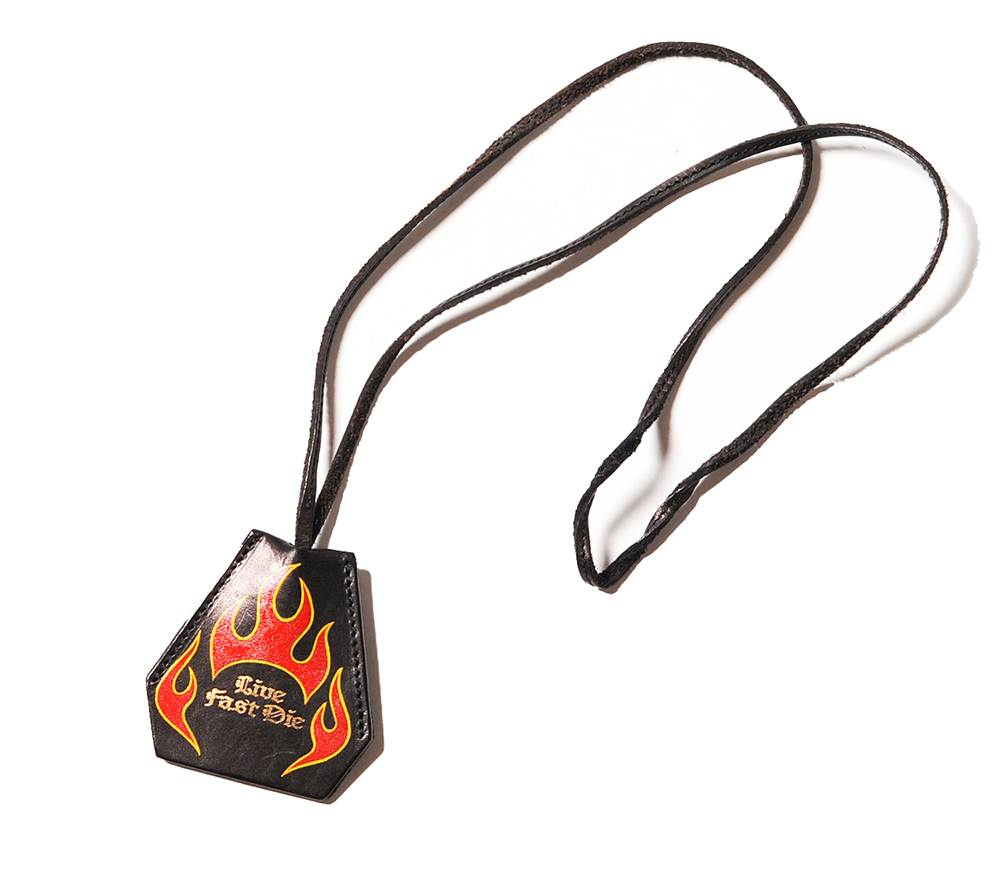 FLAME PAINT LEATHER KEY COVER