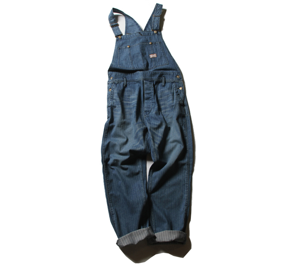 USED DENIM HERRINGBONE OVERALL