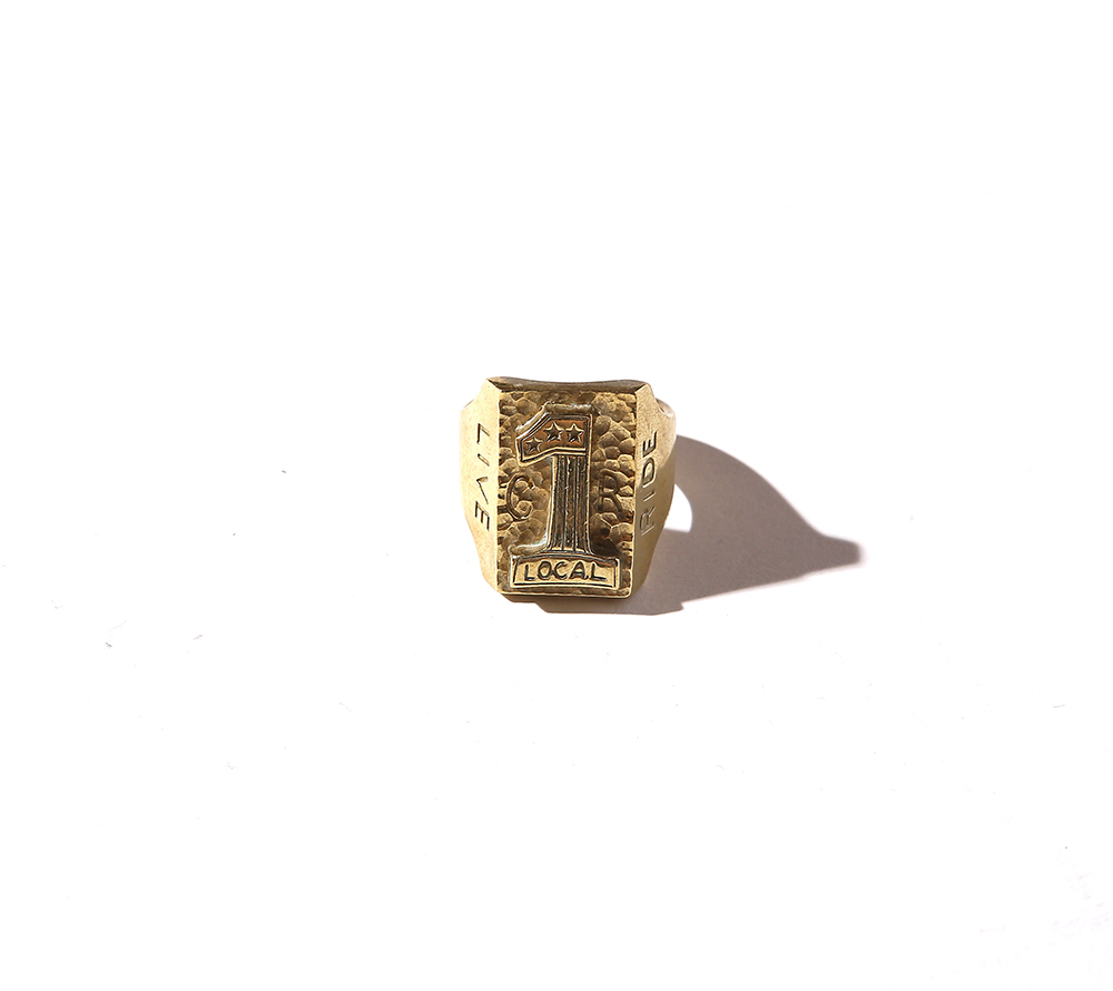 NO,1 LOGO BRASS BIKER RING