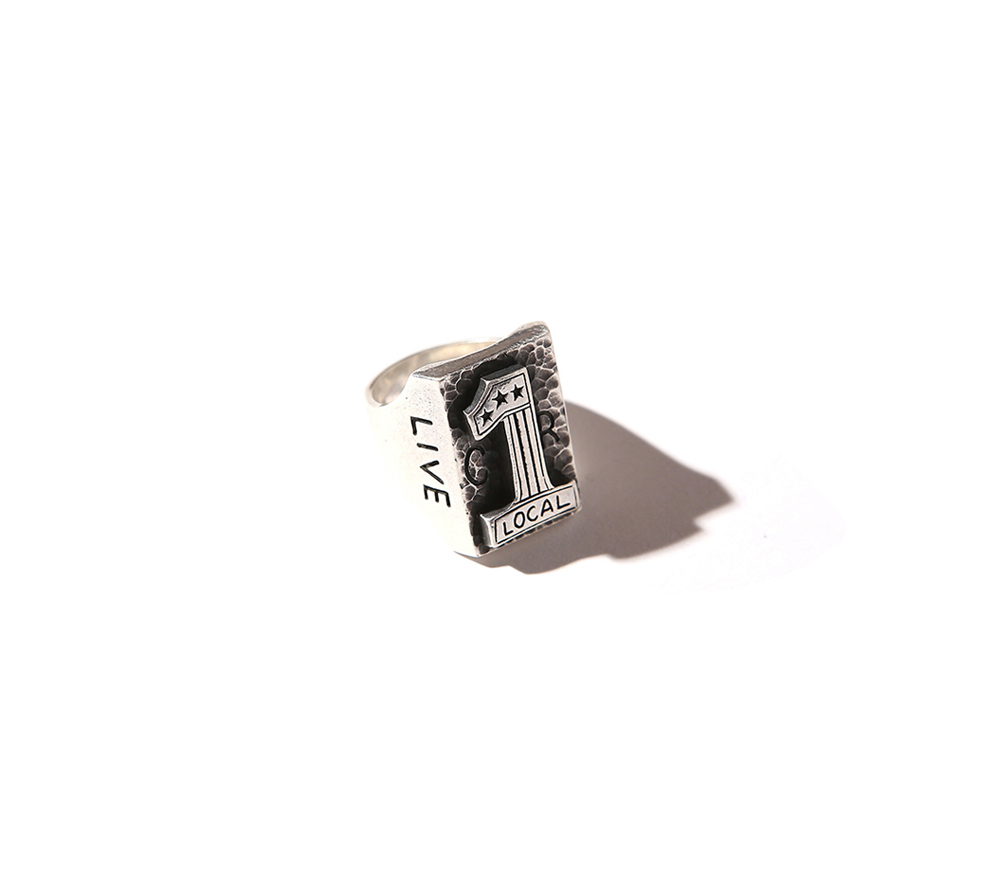 NO,1 LOGO SILVER BIKER RING MADE BY LARRY SMITH