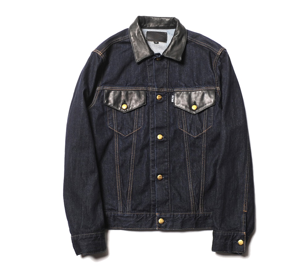 LEATHER COMBINATION DENIM JACKET