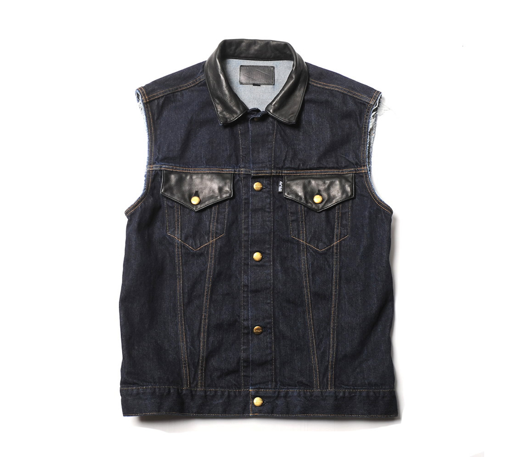 LEATHER COMBINATION DENIM VEST