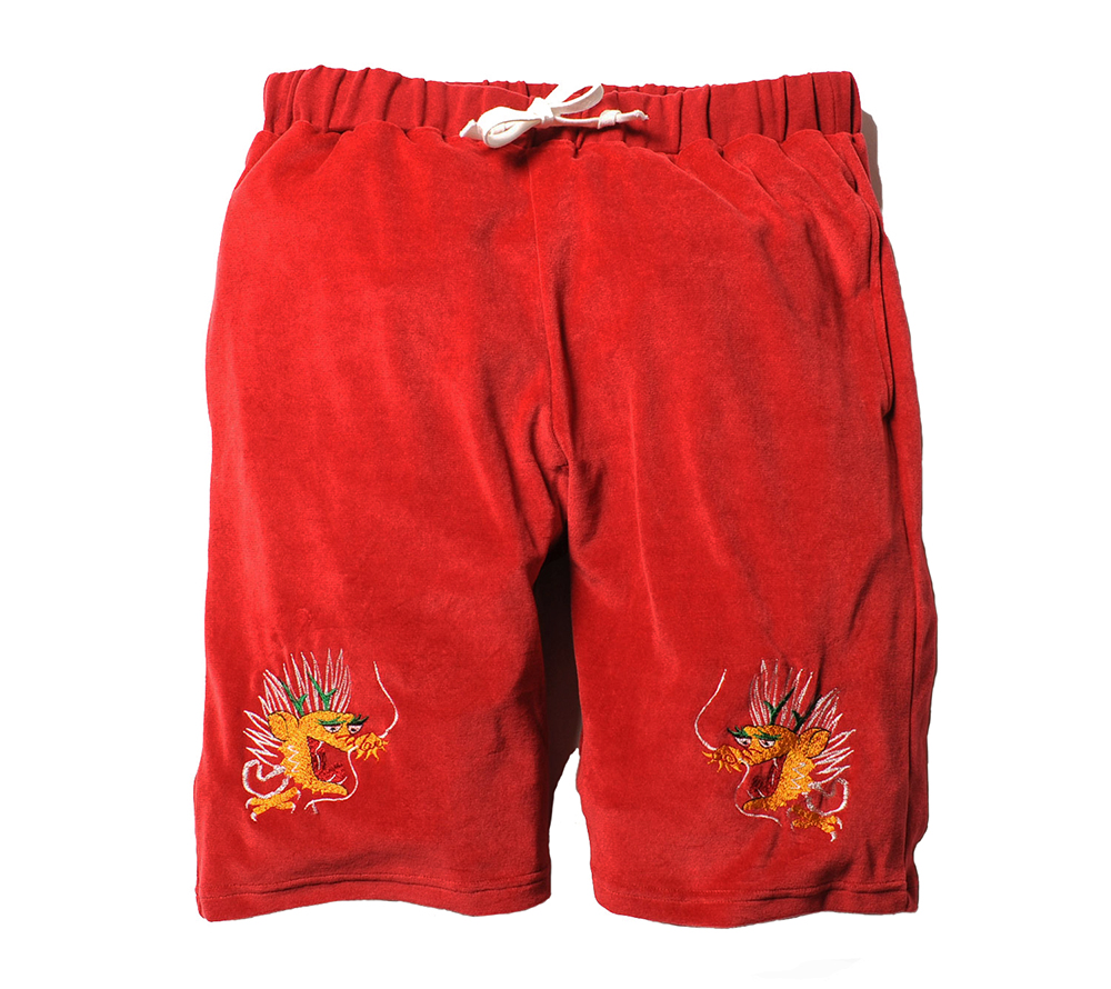 EMBROIDERY VELOUR SHORT PANTS