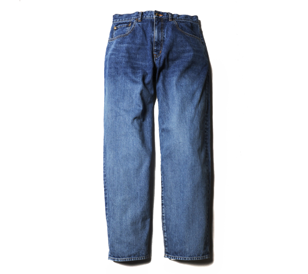 USED WASH WIDE TAPERED DENIM PANTS