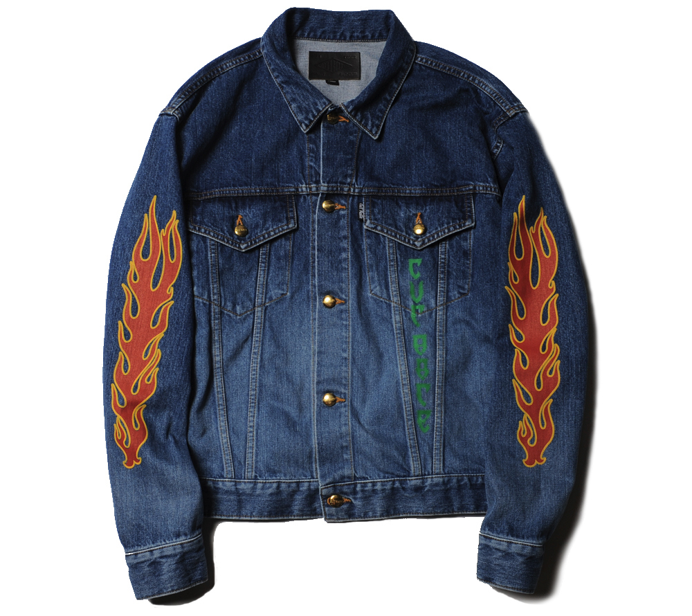 FLAME PATTERN SLEEVE PRINT USED DENIM JACKET