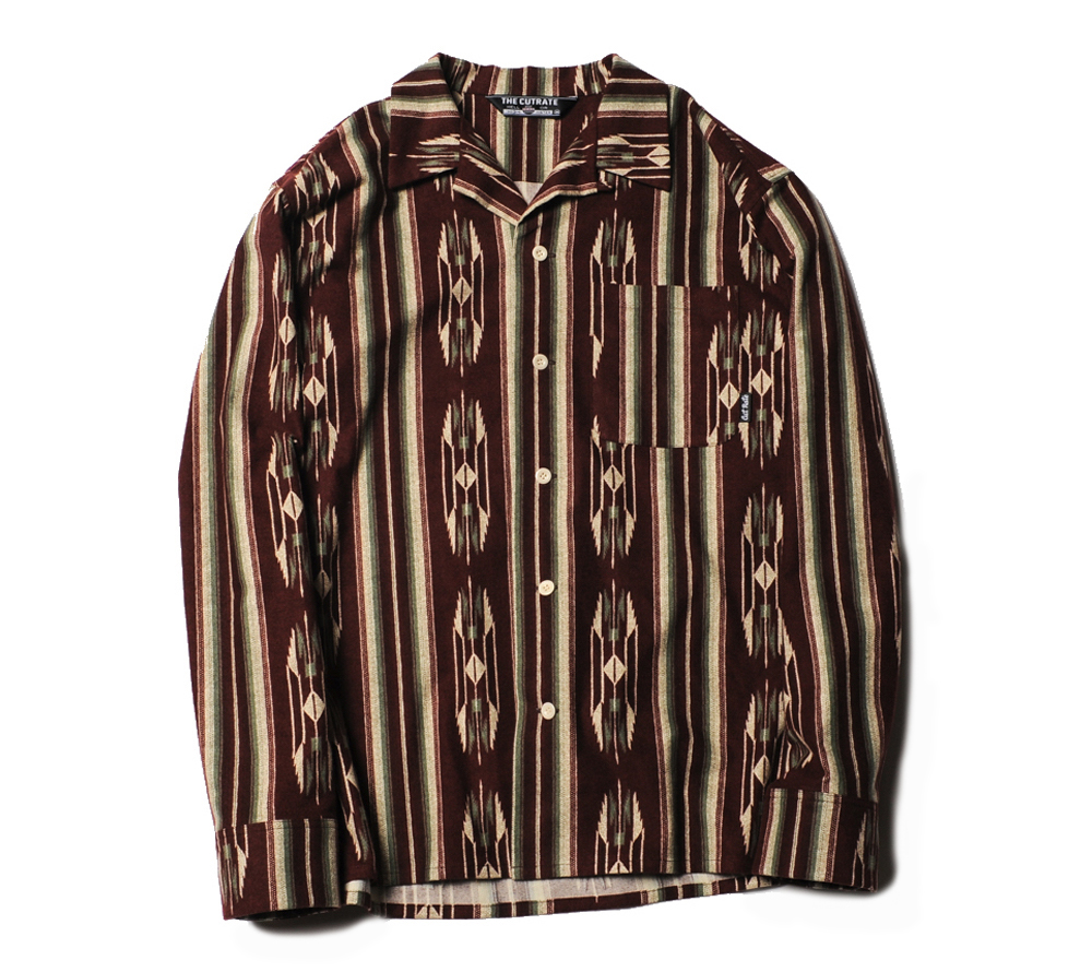 NATIVE PATTERN STRIPE L/S SHIRT