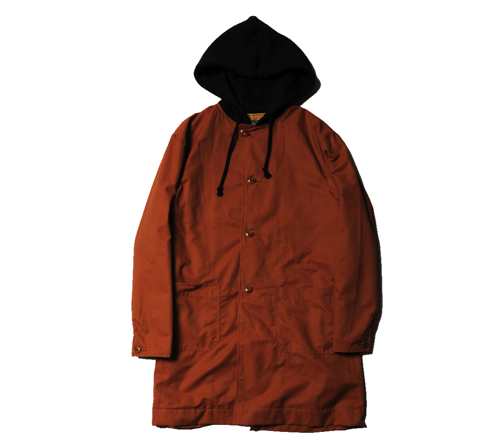 NYLON HOODED LONG COAT